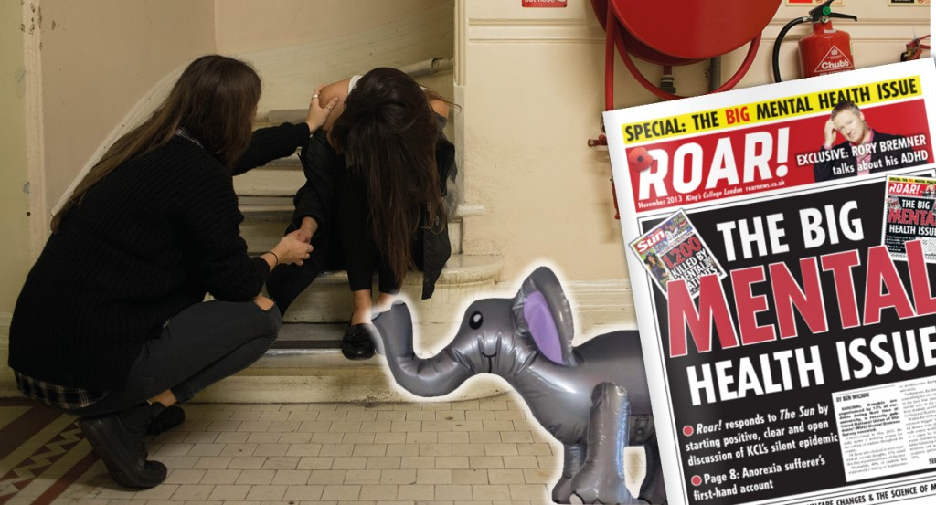 A woman comforting her friend. Roar News / Johnny Tam. Inset: KCL Elephant in the room, Roar's big mental health issue
