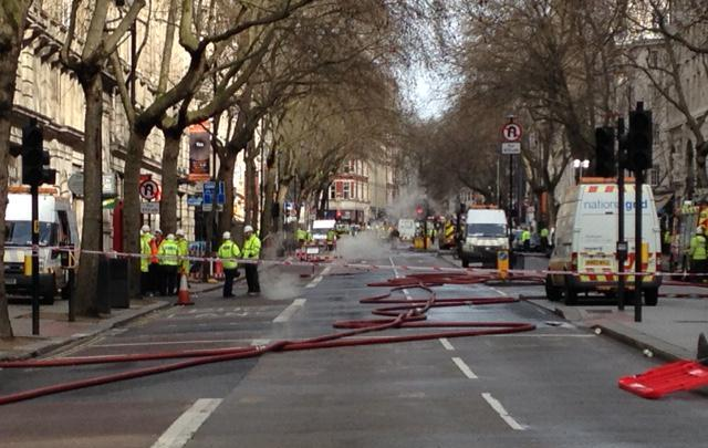 The view down Kingsway the day after the fire started / London Fire Brigade
