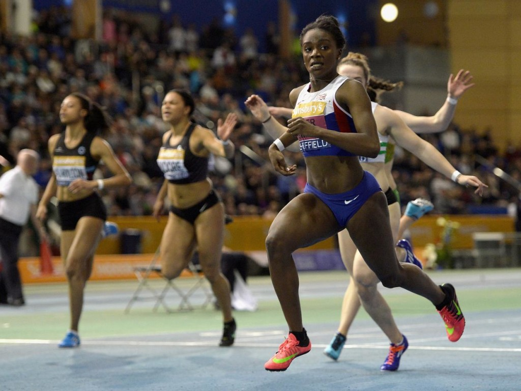 Asher-Smith crosses the line of the women's 60 meter final at the Sainsbury's British Athletics Indoor Championship. Photo credit: Getty Images.