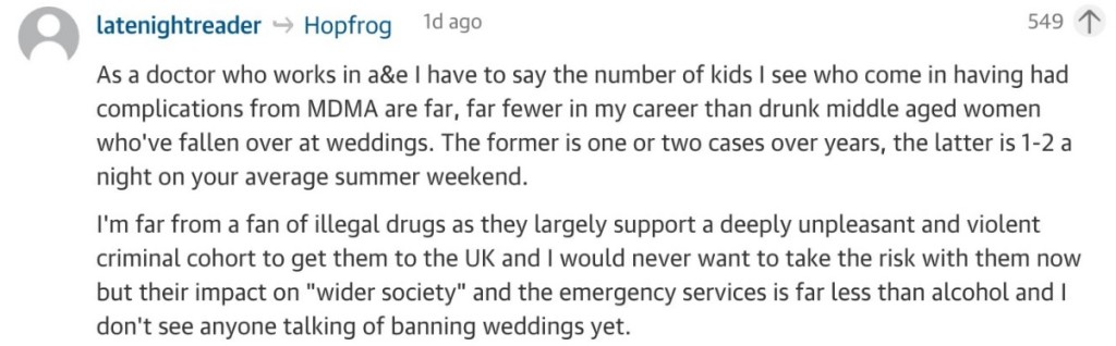 A Guardian commenter stated from his experience that tipsy women at weddings get into more bother weekend on weekend than drug users seem to.