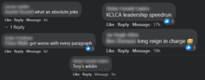 A series of comments regarding Charles Amos' election as KCLCA president.
