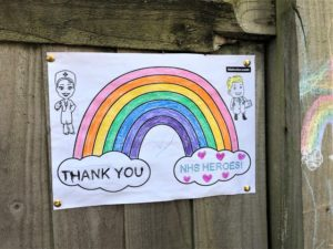 A drawing of a rainbow in support of the NHS